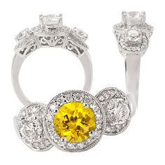18k lab-created 6mm round yellow sapphire engagement ring with natural diamonds