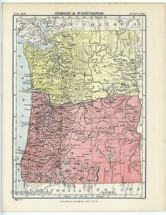 Antique State Map of Oregon & Washington, USA. Encyclopedia Britannica, 8 x 11 inches, Home Decor, Wall Hanging