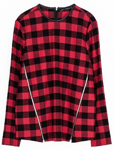SIMPLY RED BLACK! FAVE! :) Red Black Plaid Long Sleeve Zipper Slim Blouse US$30.00