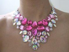 Bib Necklace Pink Rhinestone Statement by SparkleBeastDesign