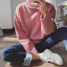 Spring Essential: Pink Turtle Neck Sweater   Similar Style Available on SiiZU