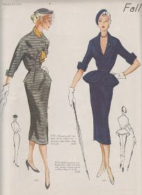 For those of you who are sick and tired of vintage fashions, you are in luck as I have only one more week's worth of Mode. Couture Vintage, Vintage Fashion 1950s, Fashion Illustration Vintage, Fifties Fashion, Retro Fashion, Vintage Style, Vintage Hats, Fashion Illustrations, Victorian Fashion