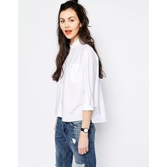 Monki Boxy Shirt with Side Splits (140 ILS) ❤ liked on Polyvore featuring tops, white, cotton crop top, boxy top, white crop top, crop shirts en shirt crop top