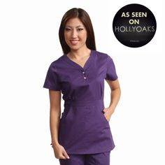 """Longer top from koi, 26"""" length (size S) 55% cotton/45% polyester soft twill top, Two functioning snap buttons and deep pockets XS-3X  #dental #uniforms #nurse #female #scrubs #tunics #top #healthcare #koi #Justine #happythreads"""
