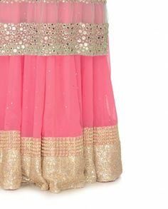 Baby Pink Lengha Set with Mirror Work