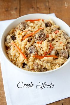 Creole Alfredo - Sausage & Red Pepper bowl of goodness. this is perfect for a quick dinner!