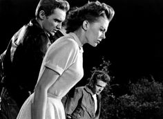 Dennis Hopper, Natalie Wood, and James Dean on the set of Rebel Without a Cause.