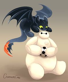 Finally Baymax got the ball Toothless: Me want! I know toothless is from…