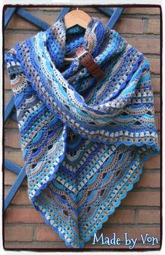 Crochet Shawl made with Katia Socks Darling 4.