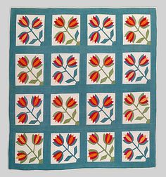 Quilt, tulip pattern, Date:  ca. 1850–80.  Collection of the Met Museum