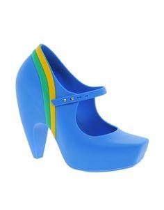 Image 1 ofKarl Lagerfeld for Melissa Blue Rainbow Ginga Heeled Shoes