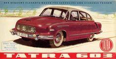 1959 brochure for the fabulous Tatra an aircooled super saloon from Czechoslovakia. American Graffiti, Bratislava, Retro Cars, Vintage Cars, Harrison Ford, Car Brochure, Car Posters, Car Advertising, Limousine