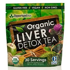 Organic Liver Detox Tea, Feel Great & Boost Your Energy With A Natural Liver Cleanse & Support Supplement. Matcha Green Tea Powder, Milk Thistle, Spirulina, Coconut Water, Ginger, & Cinnamon -- You can find out more details at the link of the image.
