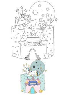Birthday Unicorn castle cake coloring page Emoji Coloring Pages, Birthday Coloring Pages, Mermaid Coloring Pages, Cool Coloring Pages, Mandala Coloring Pages, Free Printable Coloring Sheets, Coloring Sheets For Kids, My Little Pony Unicorn, Unicorn Cat