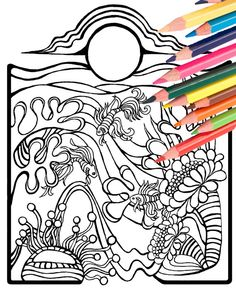 Underwater Beach Scene Angel Fish Coloring Page By MellowMermaid