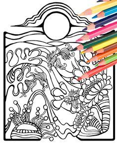 Underwater Beach Scene Angel Fish Coloring Page By MellowMermaid