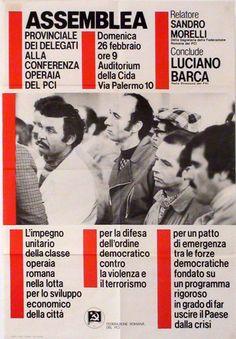 Assemblea provinciale dei delegati alla conferenza operaia del PCI. Sandro Morelli, Luciano Barca.  Progetto grafico di Daniele Turchi.