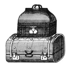 Vintage luggage images - French trunks. The Graphics Fairy 6/30/13. There are 2 different black and white graphics of 2 sets of luggage. Each one has a large trunk type piece on the bottom, with a smaller suitcase/hat box on top. Could use these on a travel journal or make a card for a friend going on a trip or maybe even make some luggage tags with them.