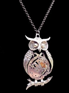 Owl Necklace with Watch Gear BellyVintage Owl by PalindromeCircus, $28.00
