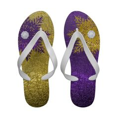 Glam #gold, eggplant #purple #snowflake #FlipFlops #sandals See more #gifts here http://www.zazzle.com/zazzleproducts1?rf=238228936251904937%3DzBookmarklet
