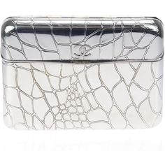 Pre-owned Chanel Chrome Croc Embossed Minaudiere Clutch ($3,550) ❤ liked on Polyvore featuring bags, handbags, clutches, croco embossed handbags, pre owned purses, chanel clutches, crocodile embossed handbags and croc purse
