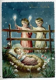 Cute Angels with Child Jesus Candles Xmas Glossy Vintage PC Circa 1950 A
