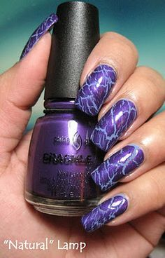 I started off with 2 coats of China Glaze Secret Peri-Wink-le: Then I topped it with China Glaze Fault Line from the new Crackle collect. Crackle Nails, China Glaze, Nail File, Nail Arts, Natural Nails, Nail Colors, Nail Designs, Nail Polish, Hair Styles