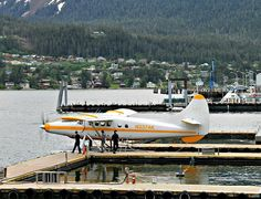 Sandra's Alaska Photographs: June 6, 2012: Twin-engine floatplane ready to take off in front of Merchant's Wharf in Juneau, Alaska...
