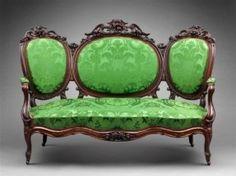 Sofa (from a Rococo revival parlor set), probably Boston, MA. Museum of Fine Arts, Boston. Victorian Sofa, Victorian Interiors, Victorian Furniture, Victorian Decor, Victorian Homes, Vintage Furniture, Victorian Parlor, Green Furniture, Furniture Styles
