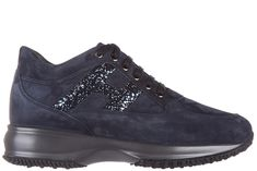 Hogan women's shoes suede trainers sneakers interactive lavorata h spezzata ricamo blu US size 7 (*Partner Link) Sneakers Mode, Sneakers Fashion, High Top Sneakers, Basket Sneakers, Suede Shoes, Women's Shoes, Baskets, Embossed Logo, Shopping