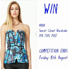 PIN IT TO WIN IT!!   WIN $100 VOUCHER for Secret Closet.   COMPETITION ENDS Friday  xx