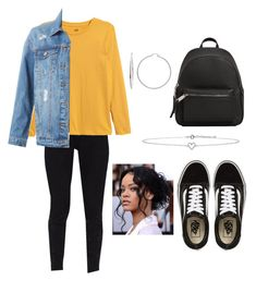 """""""[first outfit]"""" by idkmarianna ❤ liked on Polyvore featuring Ted Baker, H&M, LE3NO, Vans, MANGO, Lee Renee and Sterling Essentials"""