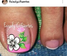 Flower Toe Designs, Toe Nail Designs, Nail Polish Designs, Cute Toe Nails, Fancy Nails, Diy Nails, Pretty Nails, Pedicure Nail Art, Toe Nail Art