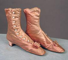 Pink Silk High button Boots - 1870
