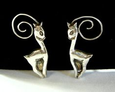 Deer Earrings Sterling Silver Stamped by SylCameoJewelsStore