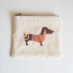 Sausage dog Zip Purse, Makeup Bag, Coin Purse, Small Accessory Pouch by Inkishop on Etsy