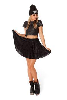S Burned Cheetah Skater Skirt - LIMITED by Black Milk Clothing $60AUD