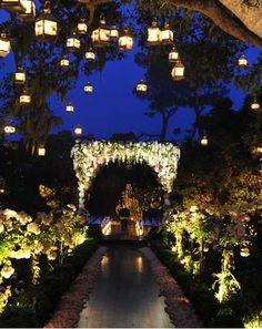 enchanted garden night wedding with hanging lanterns....omg beautiful