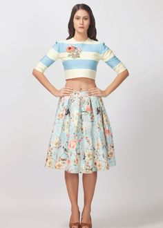 Stripes lemon yellow and powder blue strech crop top with floral applique sequence work
