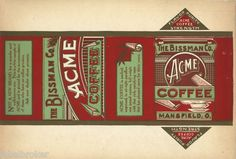 Can Label Vintage Acme Coffee Mansfield Ohio 1920s Advertising General Store | eBay