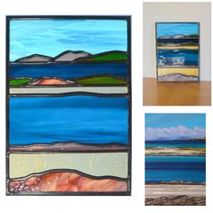 Hebridean View. Small section of Tiree Horizontal' by Alison Youg translated into glass. The image shows the peace leaning against the studio wall and held up to the light. The small source section of the original painting is also shown.