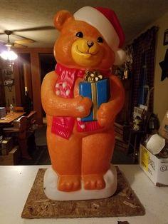 Vintage Blow Mold Light Up Christmas Bear by VintageBarnYard on Etsy