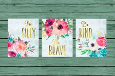 Be Silly Be Brave Be Kind.... PRINTABLE NURSERY ART.   This is an INSTANT DOWNLOAD digital art. ***NO physical item will be shipped!***  Youll receive:  3) 8x10 files 3)11x14 Files 3) 16x20 Files You will get high resolution printables in JPG format. The prints will come by email a few minutes after the purchase. The email will come from ETSY and will contain a link. You can download the JPG files and print the artwork at your home, or at a printing shop. ATTENTION:  These files will be in a…