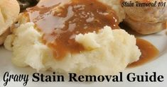 Here are step by step instructions for how to remove gravy stains from many surfaces in your home, including linen and clothing, upholstery and carpet. Salted Or Unsalted Butter, Gravy, Mashed Potatoes, Stains, Ethnic Recipes, Food, Cleaning, House, Whipped Potatoes