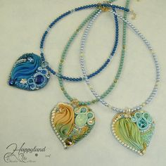 Romantic Hearts , shibori , Swarovski and beads