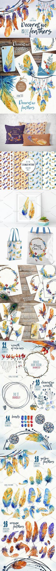 Decorative Feathers. Wedding Card Templates