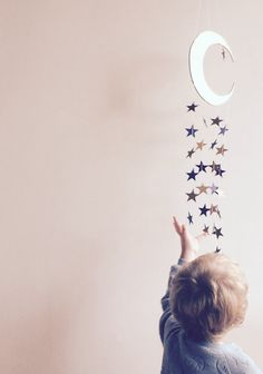 Items similar to Wood Moon and Stars Mobile Gold Blue Navy Astronaut Space Baby Boy Nursery Toddler Room Decor Home Boho Bohemian on Etsy – Gettin' crafty! Star Nursery, Girl Nursery, Nursery Decor, Navy Nursery, Boy Decor, Nursery Room, Nursery Ideas, Room Ideas, Decor Ideas