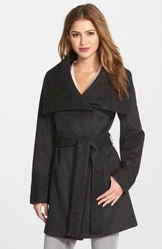 Calvin Klein Bouclé Detail Wool Blend Wrap Coat (Online Only) available at #Nordstrom