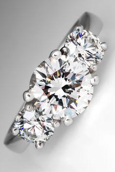 3 Stone Diamond Engagement Ring in Platinum