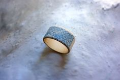 Wooden bangle with slate blue japanese waves  by ValerianeLeblond, £21.00